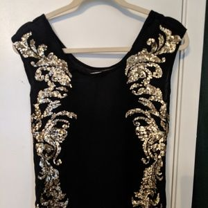 Hinge Gold Sequined Top